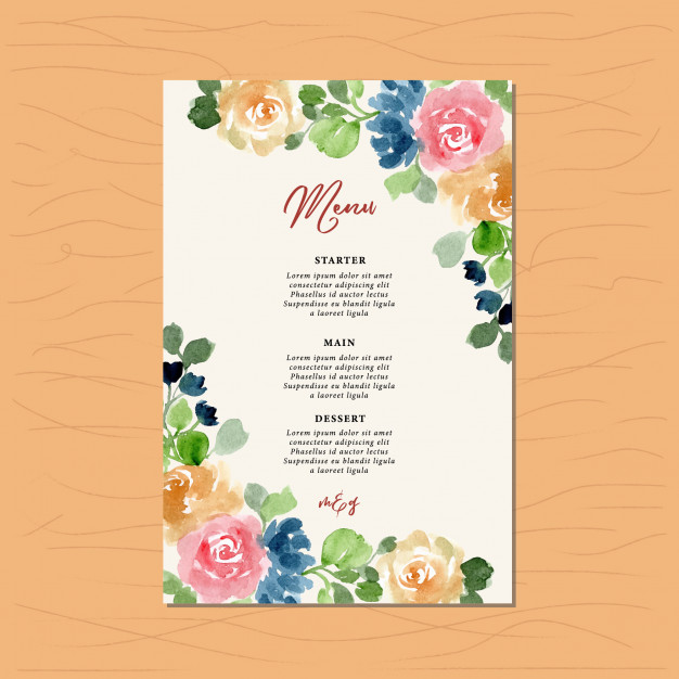 floral frame wedding menu example