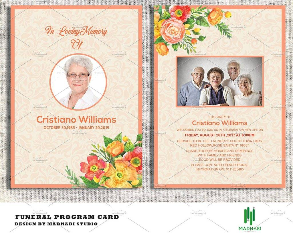 floral funeral announcement or invitation example