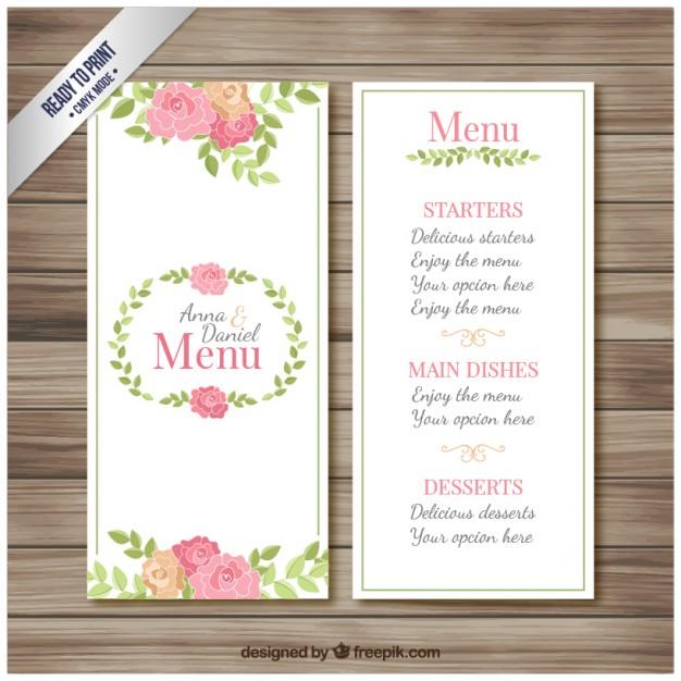 floral garden wedding menu example