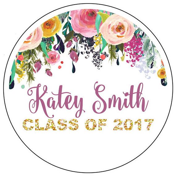 floral graduation label example