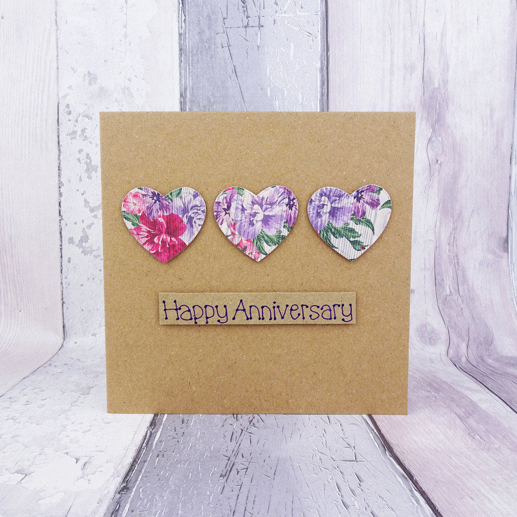 floral hearts anniversary card example