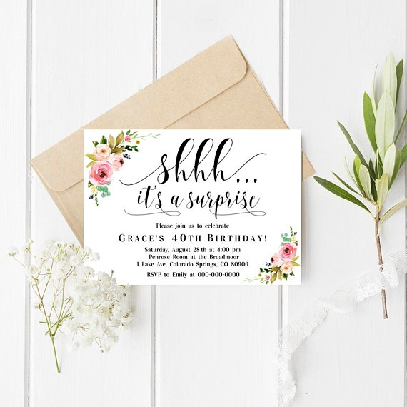 floral surprise party invitation example