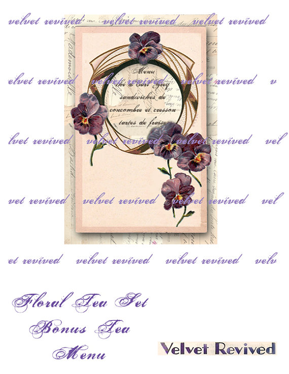 floral tea menu example
