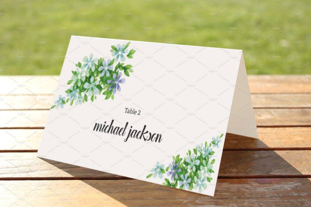 floral wedding place card template