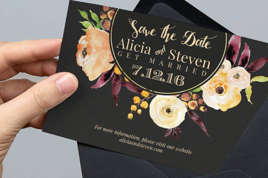 floral wedding save the date example