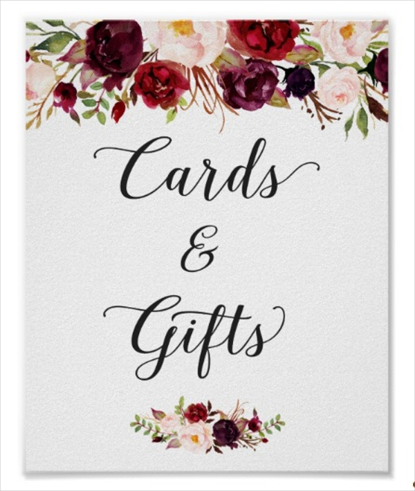 floral wedding sign gift card