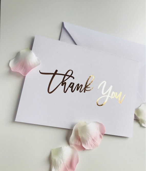 foil thank you card example