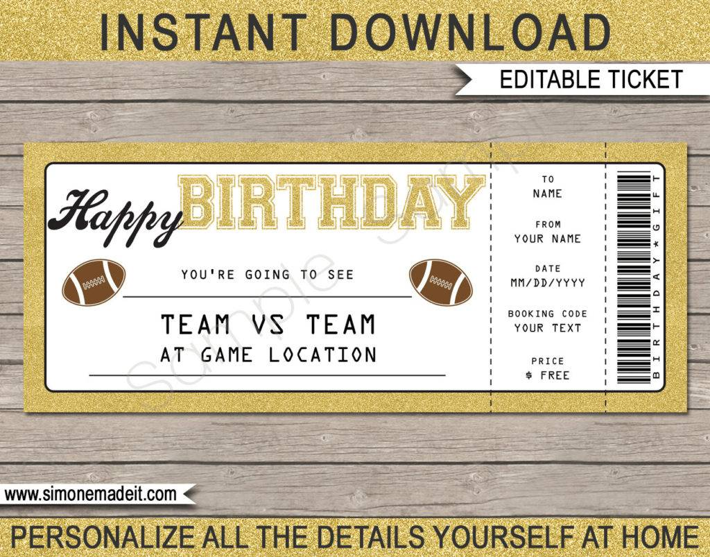 football rugby ticket birthday example