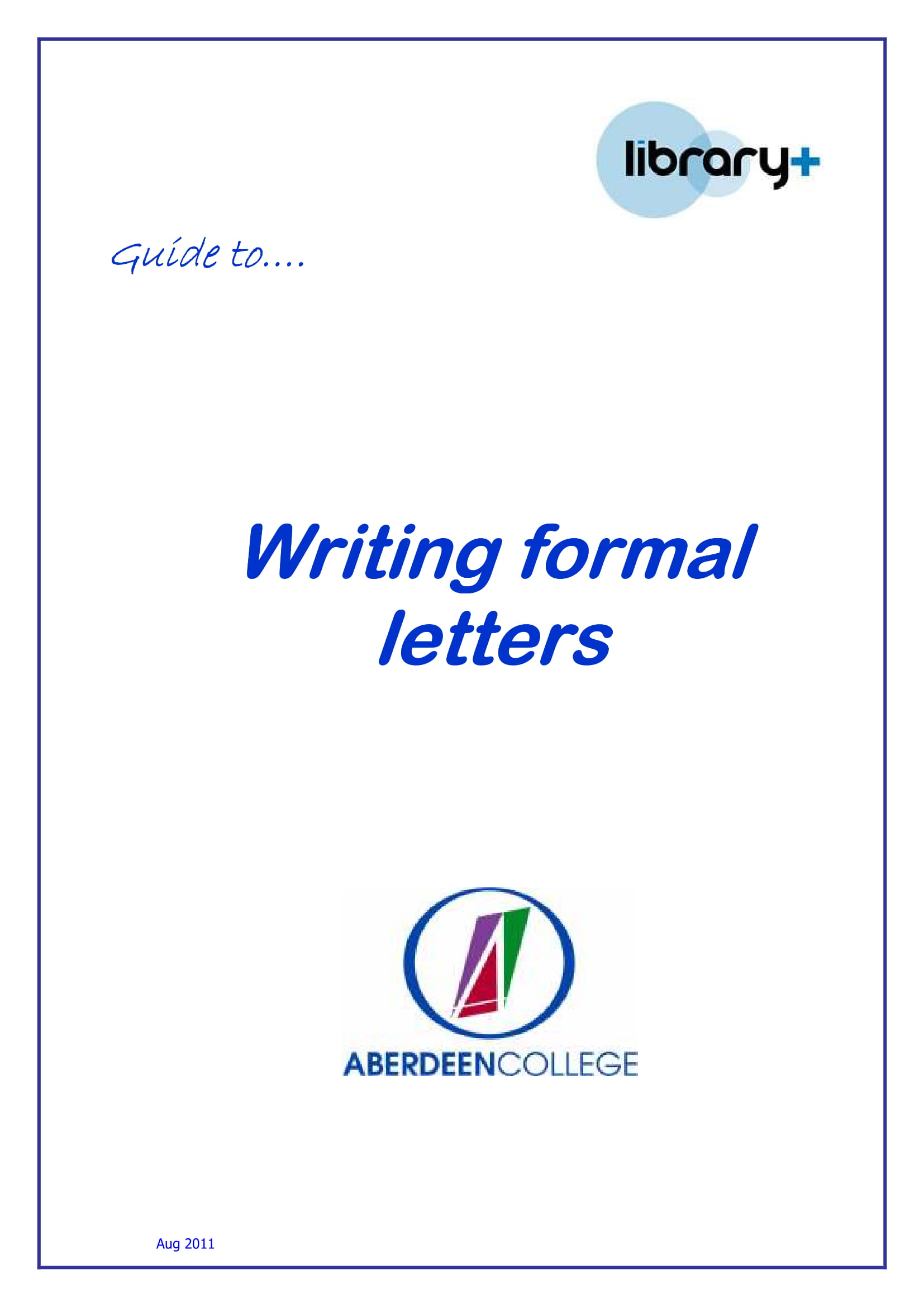 formal letter writing guide example