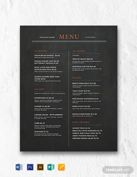 free chalkboard menu design template