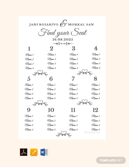 18 Wedding Seating Chart Designs And Examples Psd Ai Examples