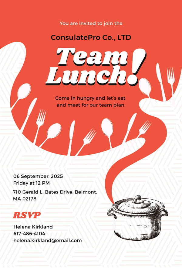 free team lunch invitation example