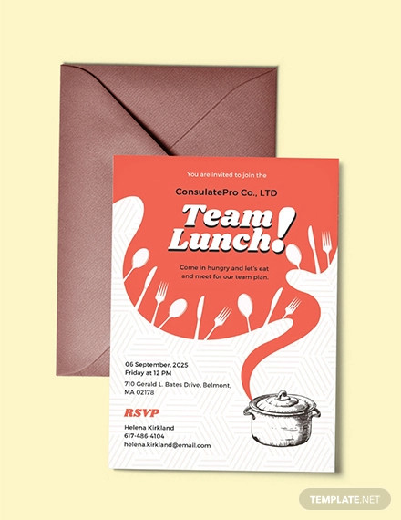 free team lunch invitation template