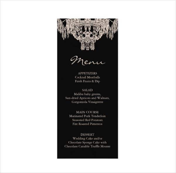 french chandelier wedding menu card