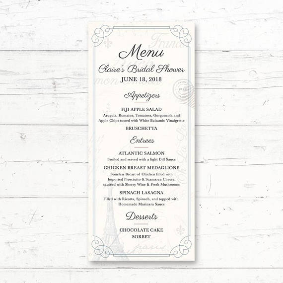 french printable wedding menu card example