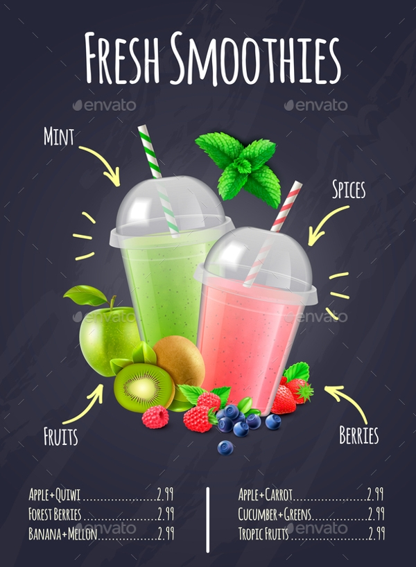 fresh smoothies realistic composition menu