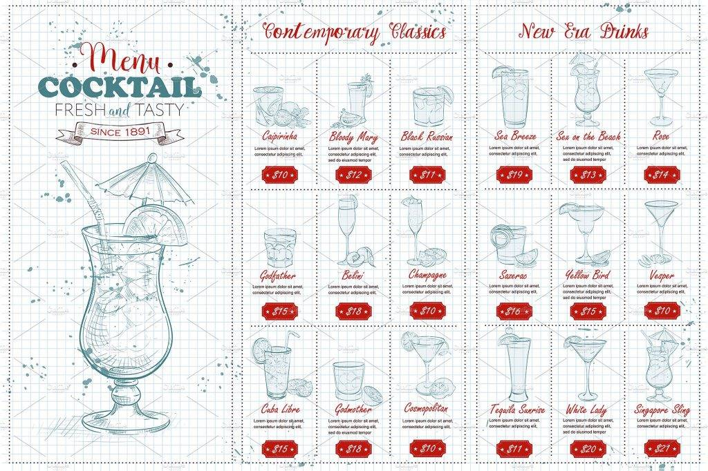 fresh tasty cocktail menu example