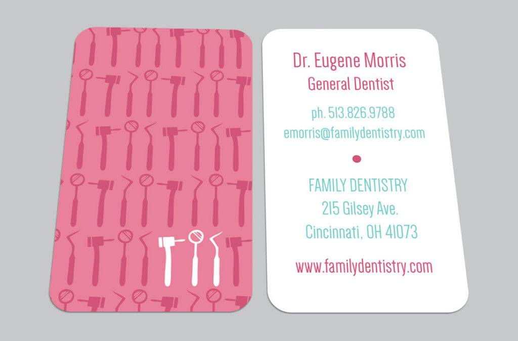 full color dental business card example