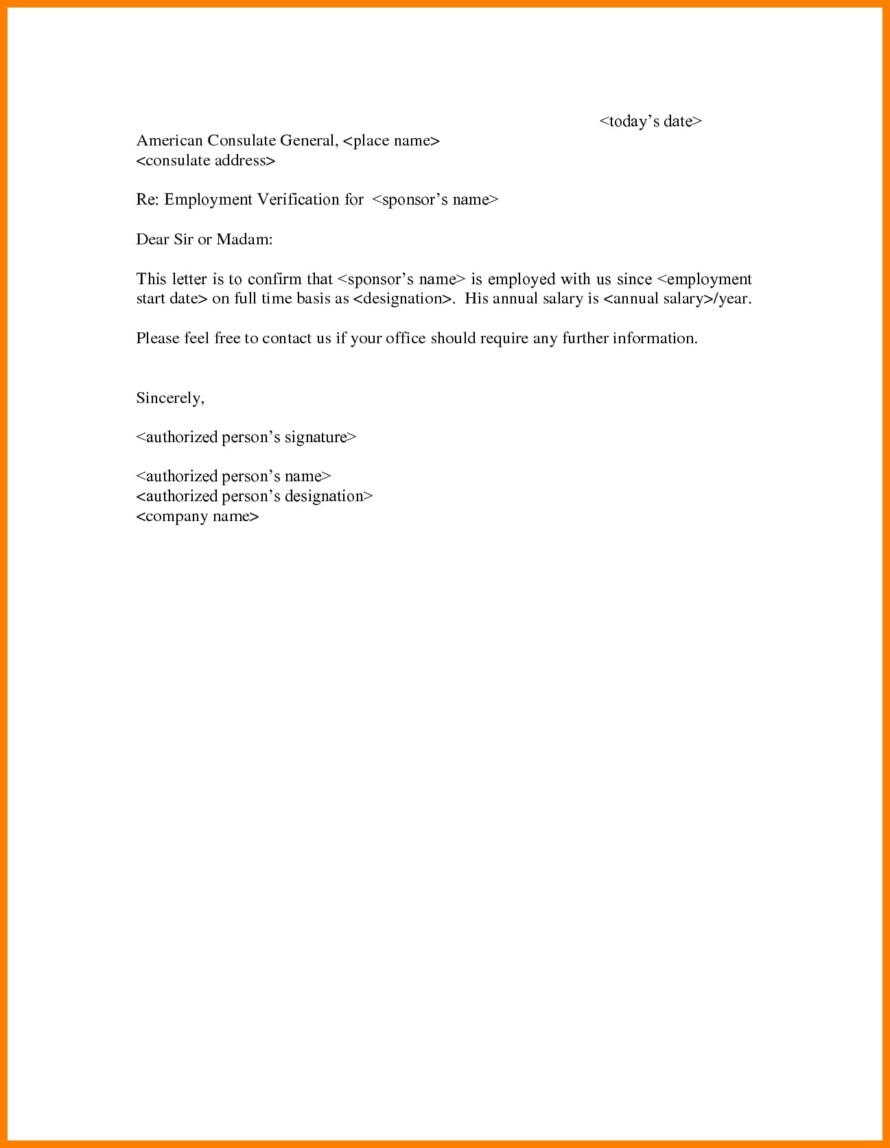 full time employment verification letter example