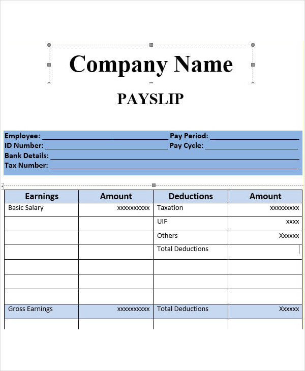 fully editable sample salary slip example1