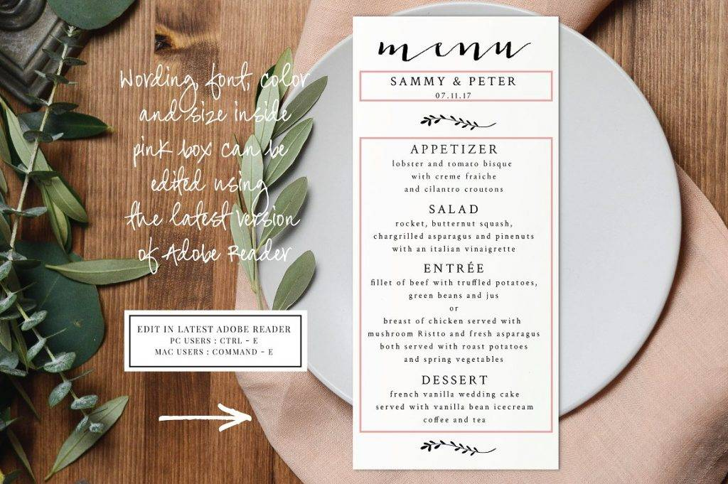 fully editable simple wedding menu example