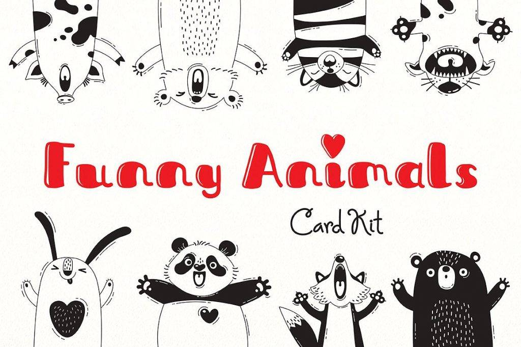 funny animals card kit example