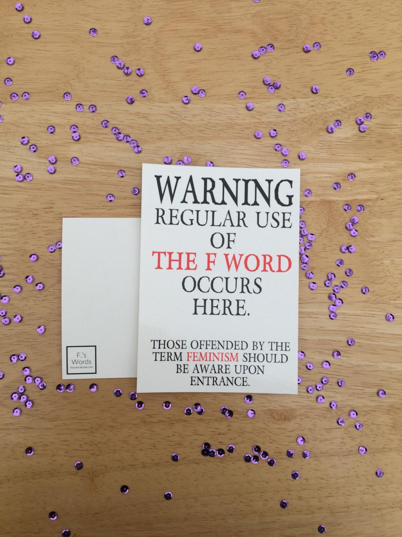 funny feminism warning postcard example