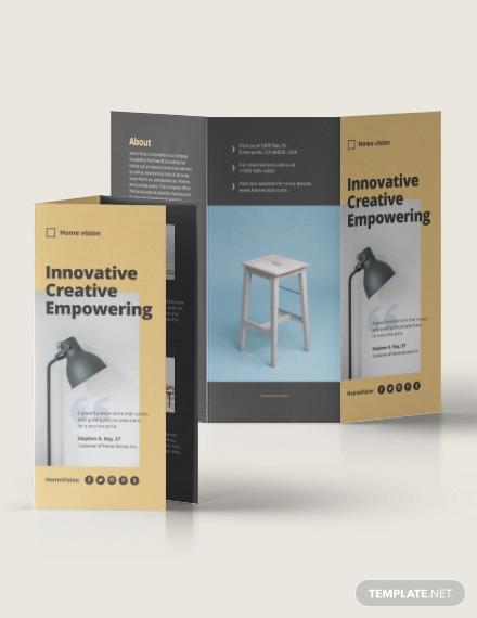 furniture company tri fold brochure template