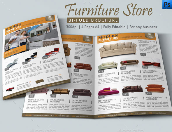 furniture store bifold brochure example