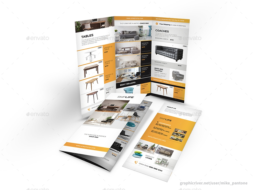 furniture store trifold brochure example