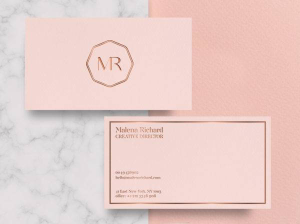 geometric rose gold business card example