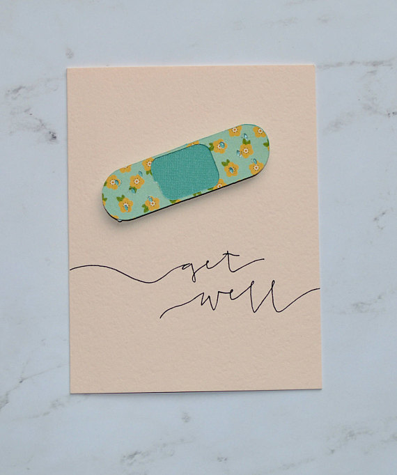 get well bandaid greeting card example