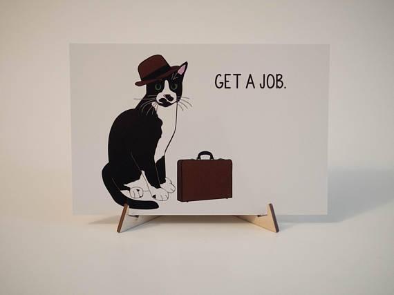get a job graduation postcard example