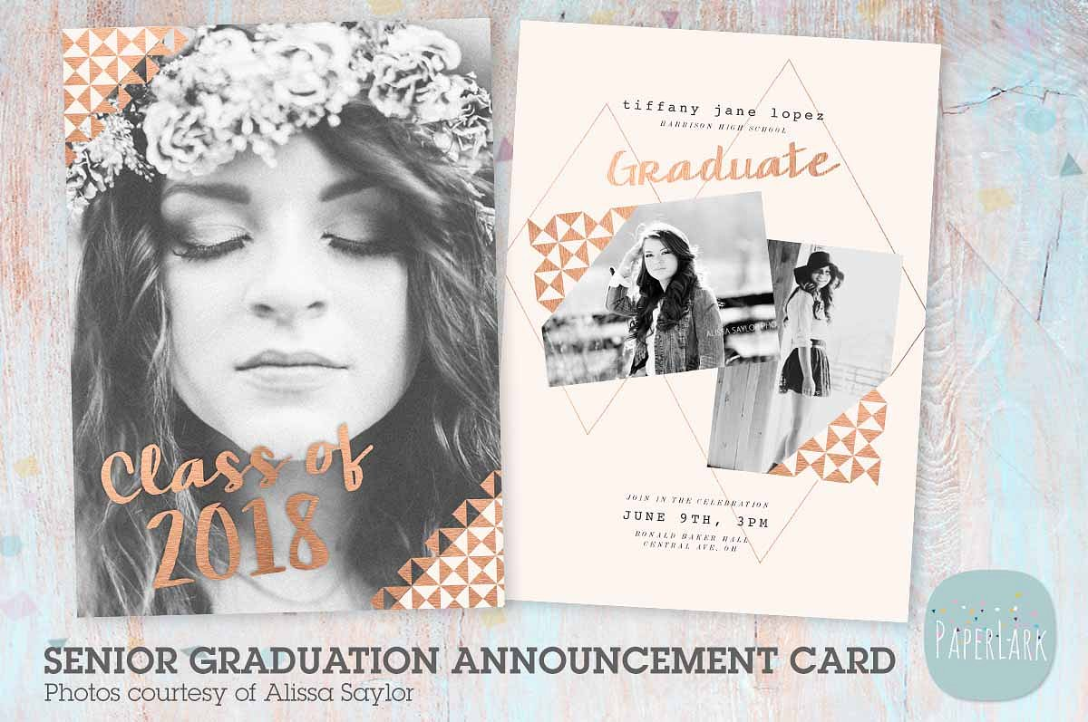 girl wreath graduation greeting card example