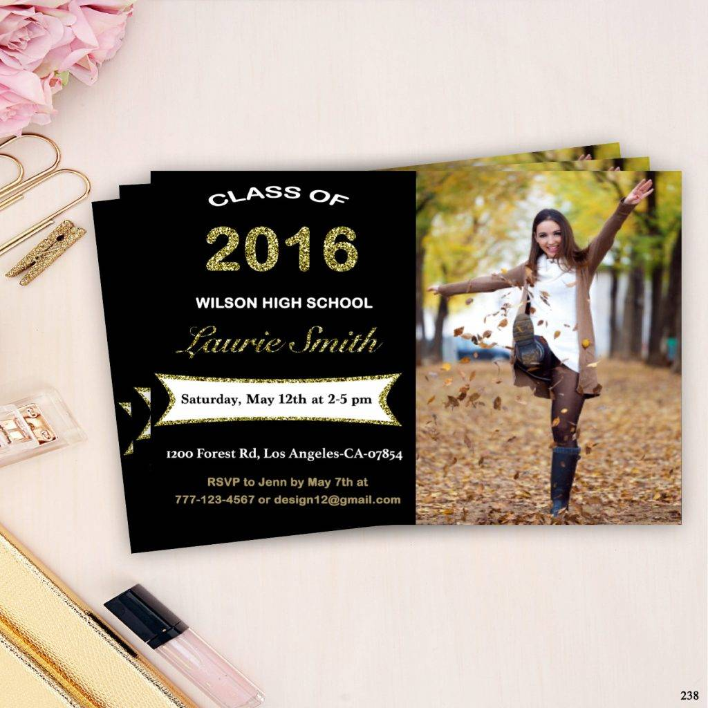 glitter college grad invitation example