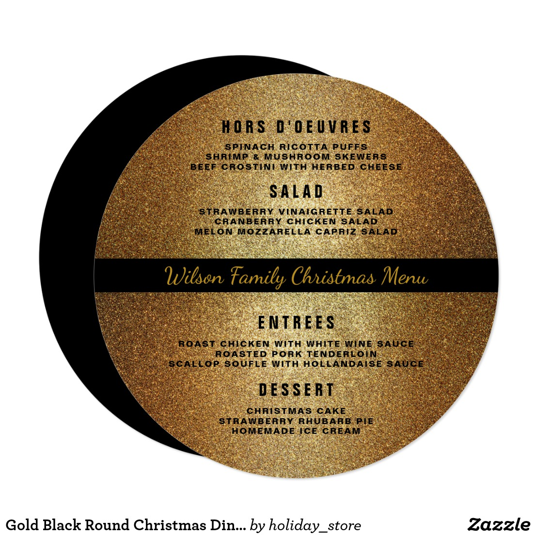 gold black christmas menu example