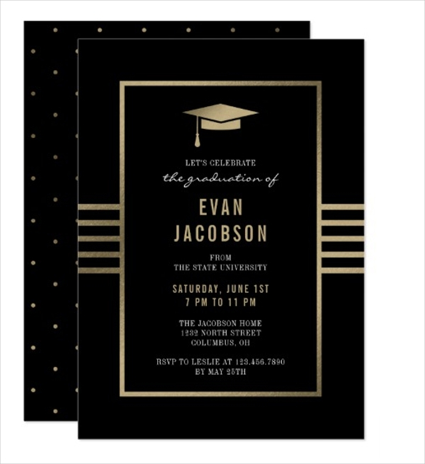 gold cap graduation invitation gift card