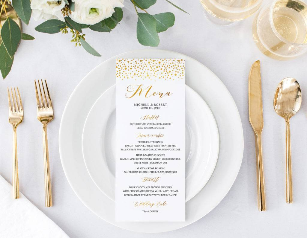 gold confetti wedding menu example