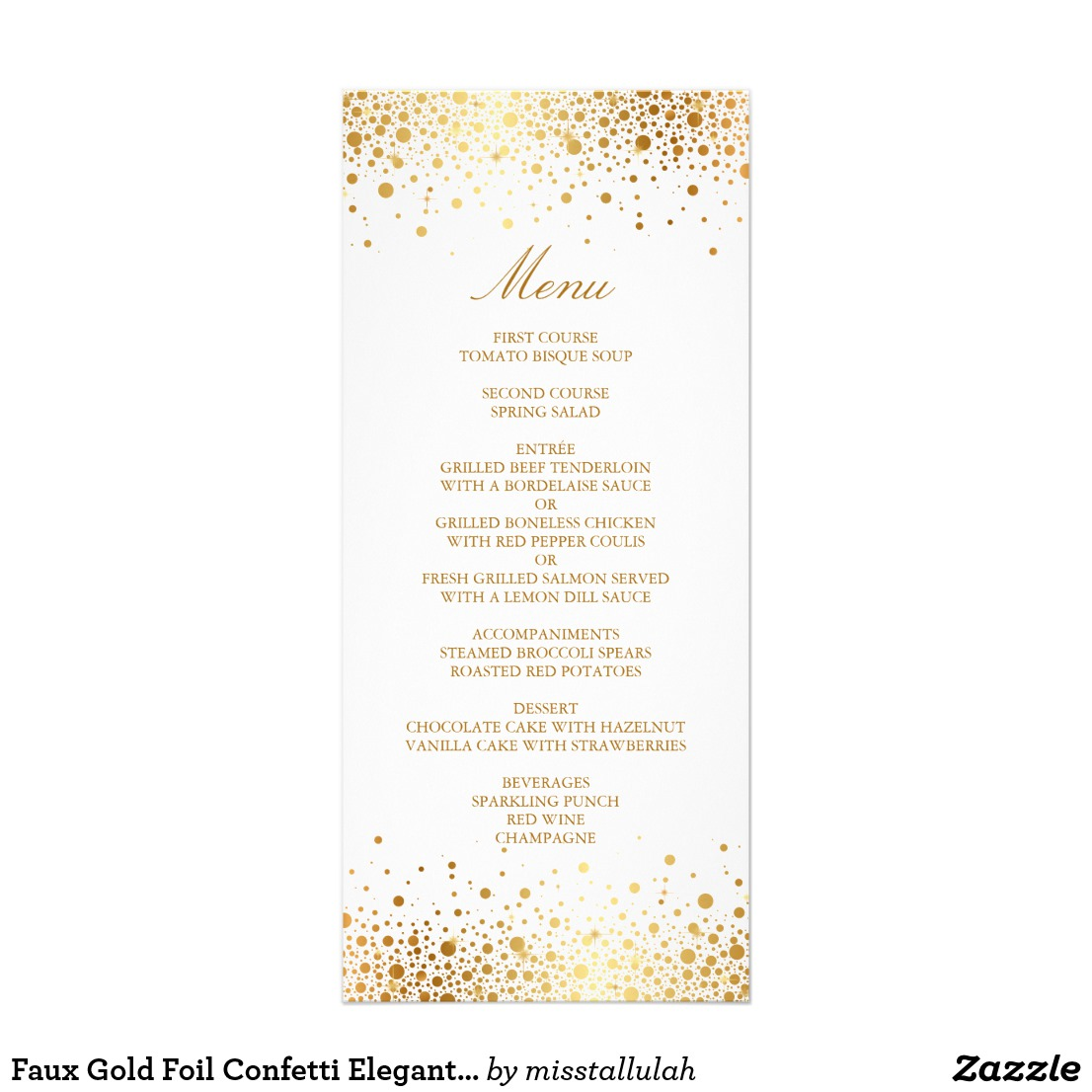 gold confetti wedding menu example1