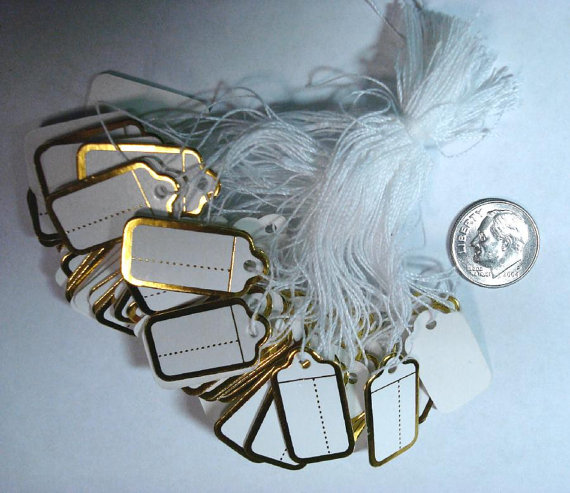 gold foiled paper price tags examples