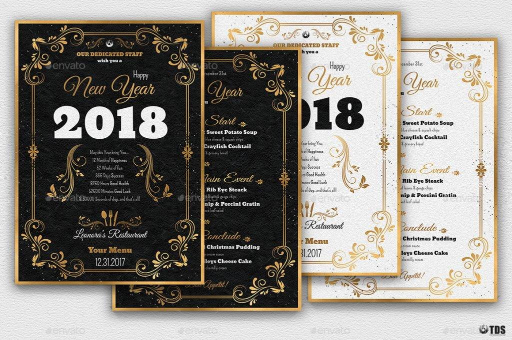 gold new year 2018 menu example