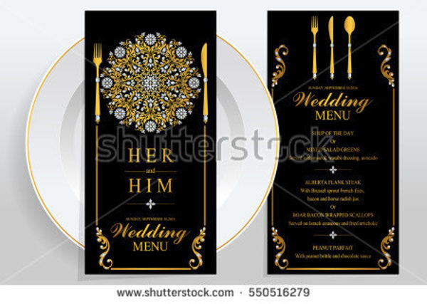 gold pattern wedding menu example
