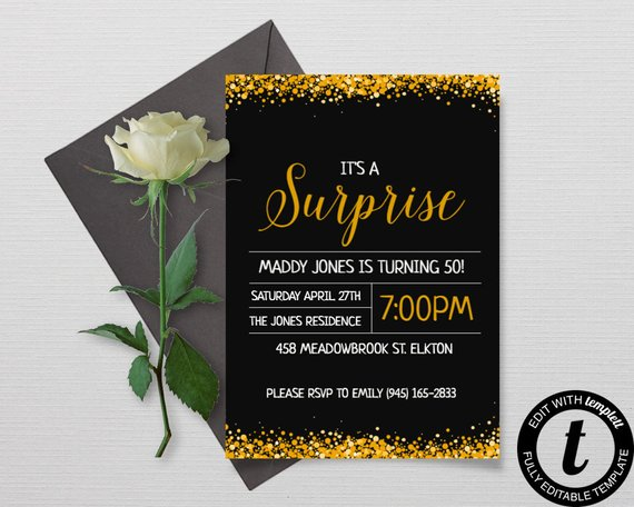 gold surprise party invitation example