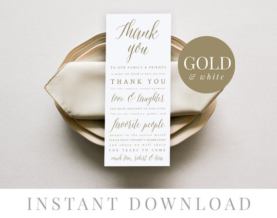 gold wedding thank you card example