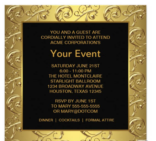 gold and black corporate party event announcement card example