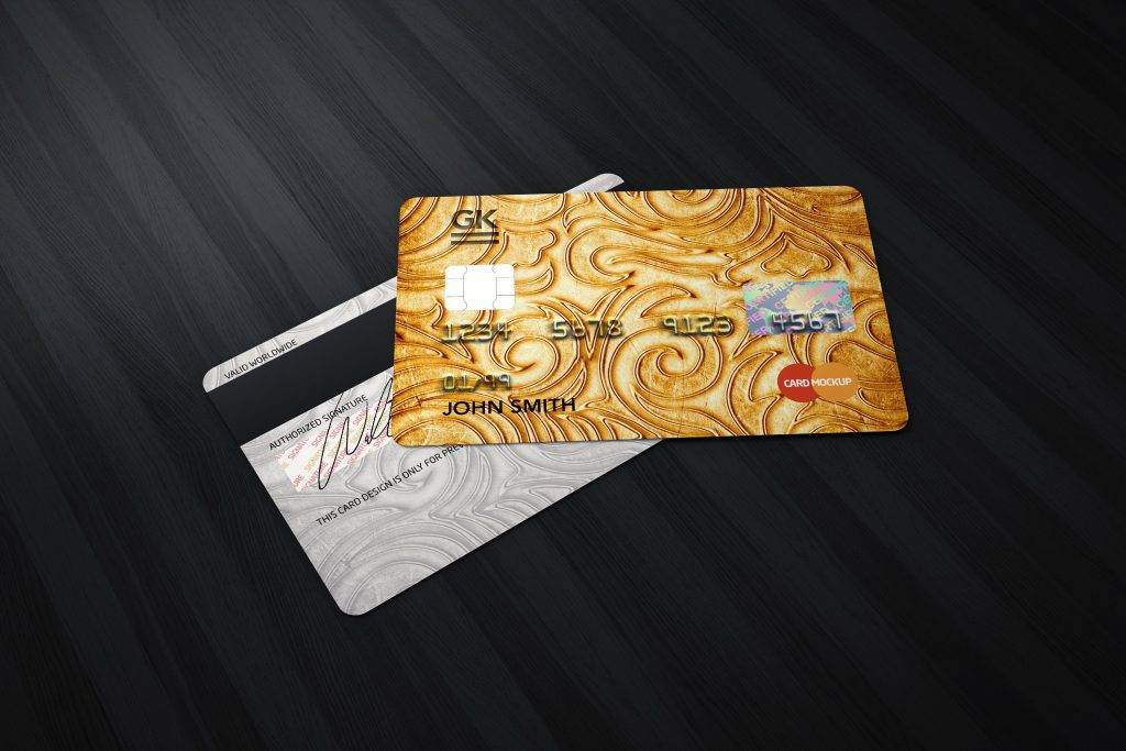 gold and patterned bank credit card
