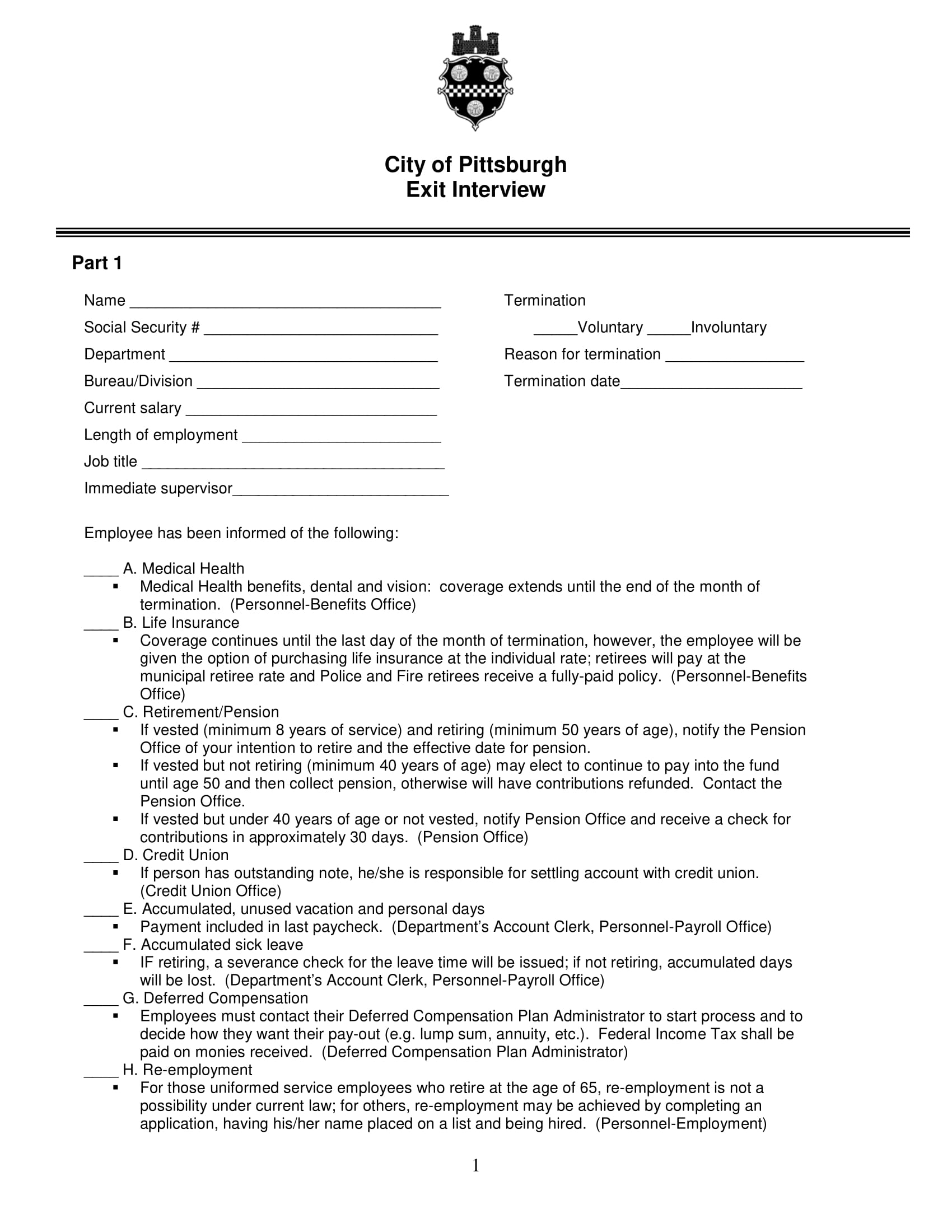 government employee exit interview form example