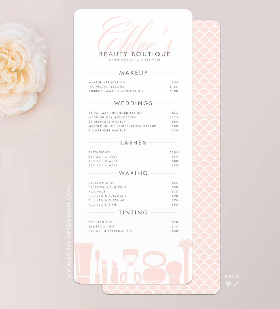 grace makeup artist or cosmetologist services menu