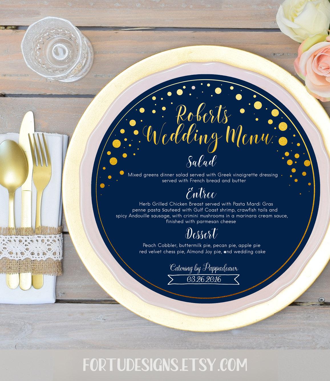 gradient gold circles wedding menu example