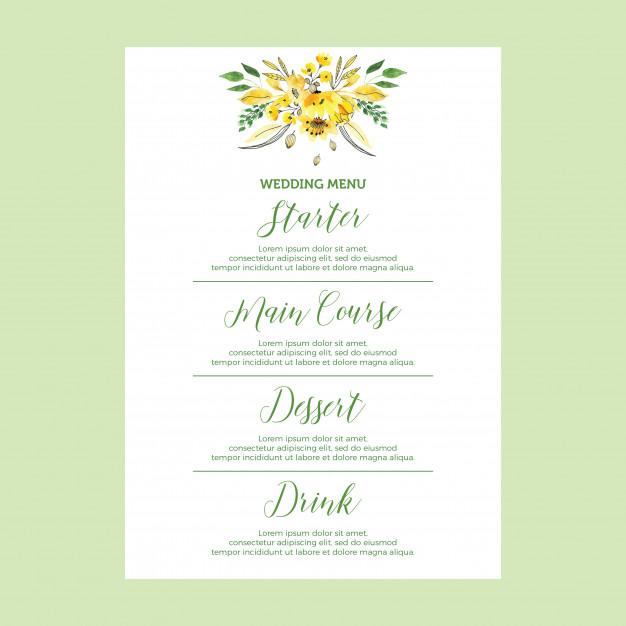 gradient wedding menu example